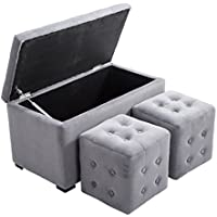 HomCom 3 piece Tufted Microfiber Storage Bench / Cube Ottoman Set (Gray)