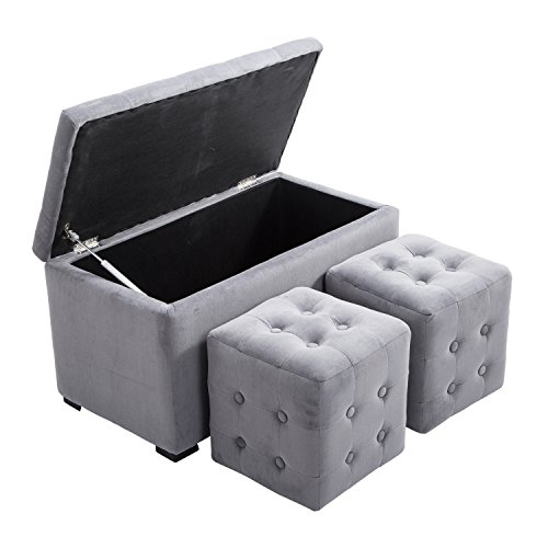 HomCom 3 piece Tufted Microfiber Storage Bench/Cube Ottoman Set (Gray)