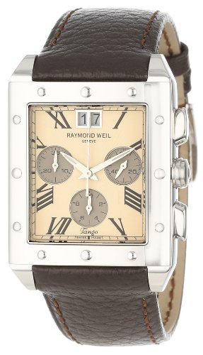 Raymond Weil Men's 4881-STC-00809 Tango Chronograph Rectangular Steel Leather Strap Watch