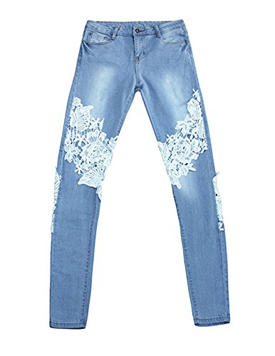 Denim Pantalones De Encaje Vaqueros Skinny,Pantalones para Mujer Zarco