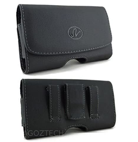 Leather Belt Clip Case Holster for Motorola Droid RAZR M XT907 fits WITH OTTERBOX COMMUTER ON IT (Droid Razr Otterbox Case)