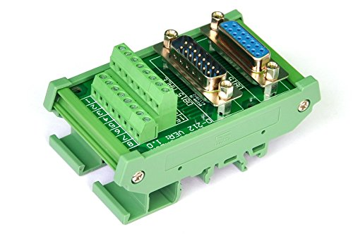 Electronics-Salon DB15 D-SUB DIN Rail Mount Interface Module, DSUB Male / Female, Breakout Board. by Electronics-Salon (Image #1)