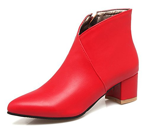 Low Bottines Femme Aisun Sexy Pointues Chunky Boots Rouge CSnUqxO