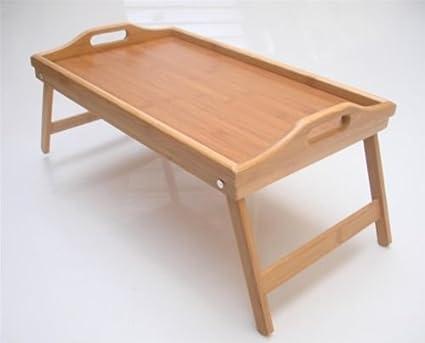 Madera de bambú para desayuno bicolor plegable para ordenador bandeja para regazo con texto espaciosa y