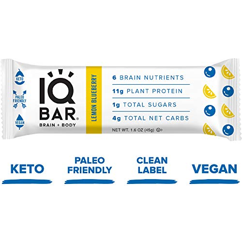 IQ BAR Brain + Body Bars, Lemon Blueberry | Keto, Paleo-Friendly, Vegan | 11g Protein, 1g Sugar, 4g Net Carbs | Non-GMO, Gluten-Free, No Sugar Alcohols | 12-Count