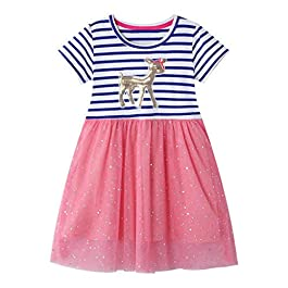 Lukame✯ Kids Migno Baby Girls Striped Sequin Princess Short Sleeve Round Neck Paillette Tulle Dress Outfits (Hot Pink, 4T)