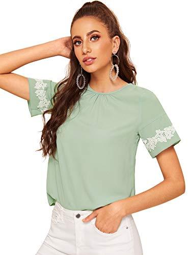 WDIRARA Women's Contrast Lace Short Sleeve Keyhole Back Chiffon Blouse Tee Green S