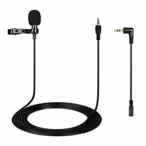 Onvian Lapel Microphone Clip on Lavalier Mic 150cm Omnidirectional Condenser Microphone for iPhone & Android Smartphones Cameras Mac Laptops Audio Video Recording