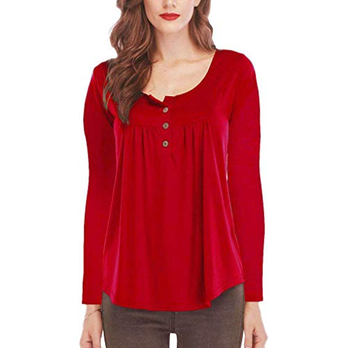 Bouton Red Manches Femmes col en Avant Drap Rond l'automne Tops Shirt Convient Vrac Longues wdqg14p
