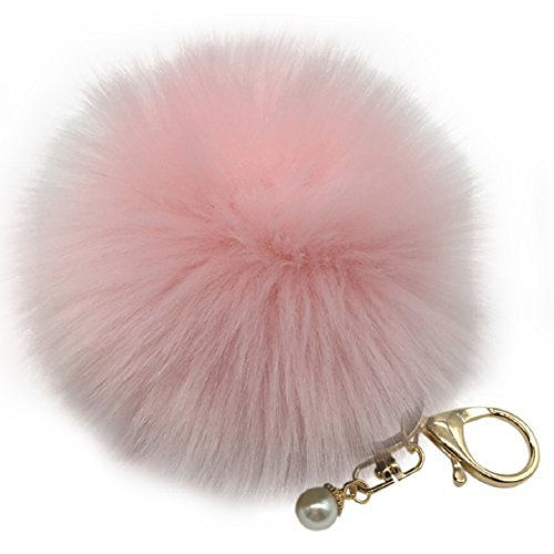 Amiley Fluffy Faux Rabbit Fur Ball Charm Pom Pom Car Keychain Handbag Key Ring (Pink)