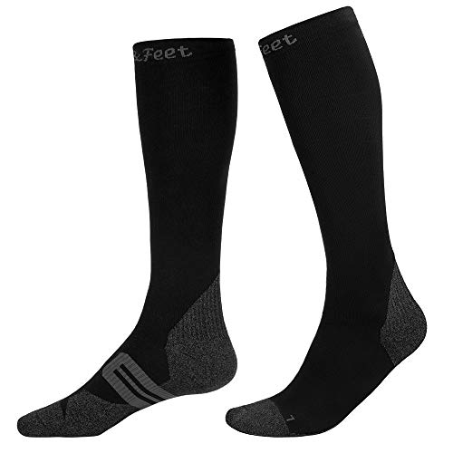 Men's and Women's 1-Pack Black Anti Odor Quick-Dry Compression Socks Graduated Stocking,L