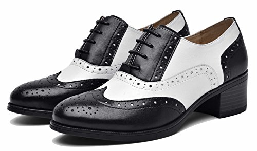 Vintage Oxford Mid Flat Multicolor lite Shoes Wingtip up Blackwhite Leather Women's Perforated Lace Oxfords Heel U 71EnOwIqw
