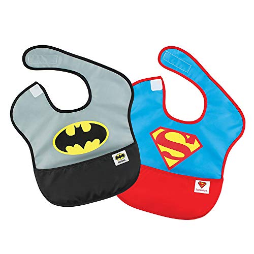 Bumkins DC Comics SuperBib, Baby Bib, Waterproof, Washable, Stain & Odor Resistant, 6-24 Months, 2 Pack - Batman/Superman ()