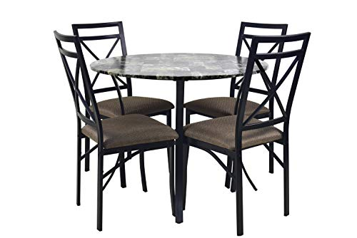 NBLiner Contemporary Style 5 Piece Casual Dining Set with Round Faux Marble Table Top and 4 Cushioned Brown Chairs