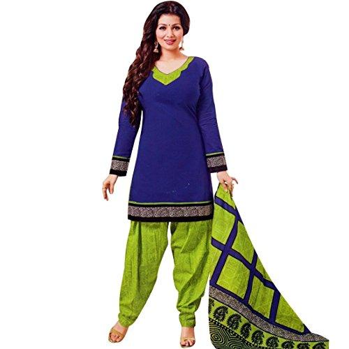 Designer Printed Cotton Salwar Kameez Ready Made Suit Indian Dress – X-Small, Blue