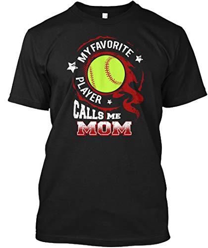 (My Favorite Softball Player Calls me mom 5XL - Black Tshirt - Hanes Tagless Tee)