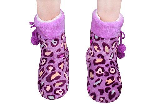 Purple Slipper Boots Fuzzy Purple Slippers Women Bedroom Slipper Size9-11 Purple
