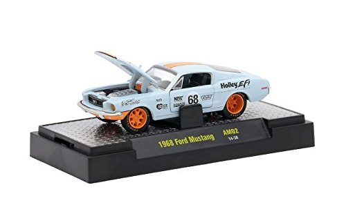 NEW 1:64 AUTO-MODS RELEASE 2 IN ACRYLIC CASES - Blue 1968 Ford Mustang #68 Limited Edition Diecast Model Car By M2 (Blue Acrylic Case)
