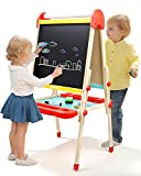 Toys : TOP BRIGHT Wooden Art Easel for Kids, Childrens Easel with Magnetic Chalkboard,Toddlers Easel Adjustable with Paper Roll
