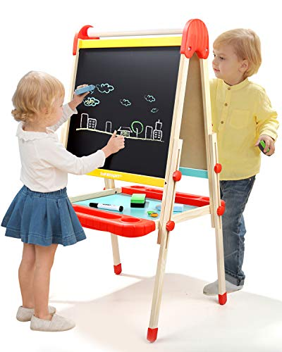 TOP BRIGHT Wooden Kids Art Easel Paint,Toddler Easel Adjustable with Paper Roll,Child Easel with Magnetic Chalkboard]()