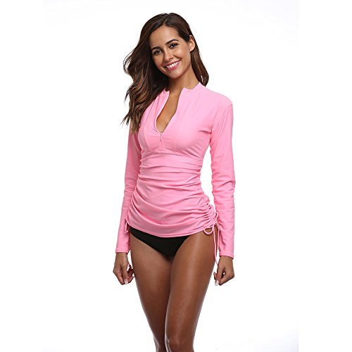 Women's Long Sleeve Rash Guard Wetsuit Swimsuit Top UV Sun Protection (901 L, Pink)