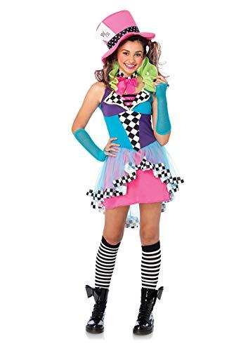 Mad Hatter Outfit (Leg Avenue Women's 3 Piece Mayhem Hatter, Multi,)