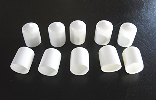 10-3/4'' White Vinyl Round End Caps .75'' Plastic Rubber Pipe Tube Rod Bar Cap
