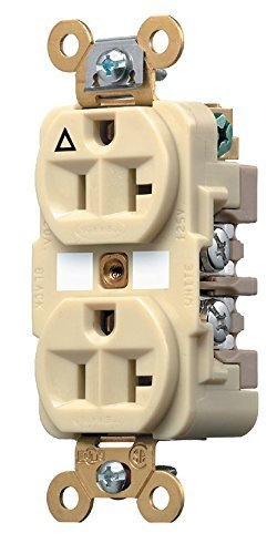 Hubbell Wiring Systems IG5362I SpikeShield HBL Extra Heavy Duty Specification Grade Straight Blade Isolated Ground Duplex Receptacle, 125V, 20A, 1 HP, 2-Pole, 3-Wire, Ivory