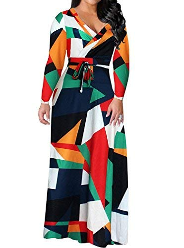 Locryz Women's V Neck 3/4 Sleeve Digital Floral Printed Party Loose Long Maxi Dress with Belt S-3XL (M, Green)