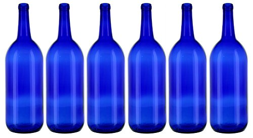 6 - Cobalt Blue Bordeaux Flat Bottom 1.5 Ltr. Glass Bottles for Bottle Trees, Crafting, Parties,Wedding Center Piece , Decor , Home Brew , Beer, Wine by Antiques Ahead (Image #1)