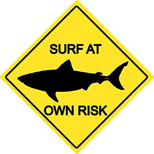 Se/ñal met/álica de Advertencia de Surf at Own Risk Warning Sea Waves Water Ocean Sand Beach Retro Metal Sign