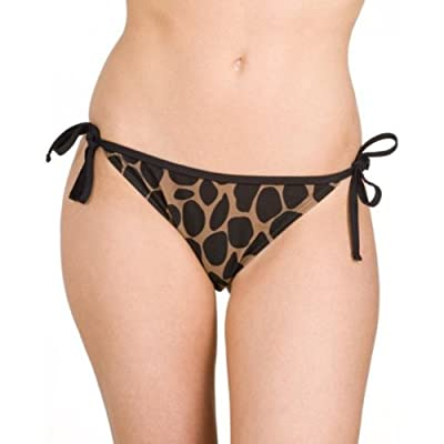 Camille Women Ladies Swimwear Brown Animal Print Tie Side Bikini Briefs