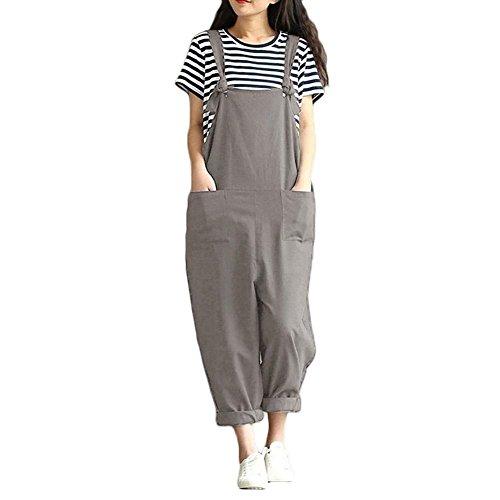 Large Femme Vêtements Pantalon Hipsters Betrothales Eté Long Baber Grau Shorts Elégant Girl Monochrome Overall Travail WWn8x