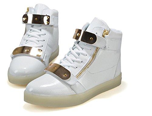 Xin Korn Män Kvinnor Hög Topp Usb-laddning Led-ljus Skor Blinkande Sneakers Vita