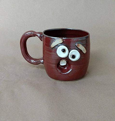 Coffee Cups and Mugs. Southern Tradition Face Pottery. Stoneware Teacup. Rustic Cinnamon Red Brown. Funny Gifts for Man Woman Medium 14-18 Ounces