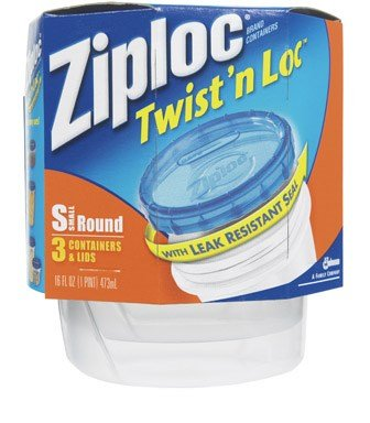 Ziploc Twist 'N Loc Containers, Small 2 Cup (Pack of 6)