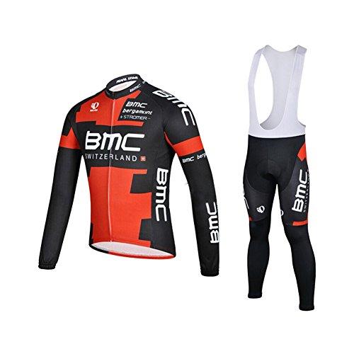 (UONO Mens Long Sleeves Cycling Jersey Jacket Bib Pants Padded Suit)