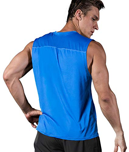 (Roadbox Men's Performance Sleeveless Shirts Quick Dry Workout Athletic T Shirts Running, Basketball and Gym Tank Tops Royal Blue)