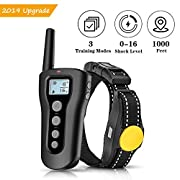 #LightningDeal PATPET Dog Shock Collar with Remote - 1000ft Range Shock Collar for Dogs IPX7 Waterproof No Harm Dog Training Collar Fast Training Effect for Small Medium Large Dogs