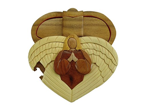 (Heart Angel of Love Church Hand-Carved Puzzle Box with No Paints! No Stains! Hidden Felt Lined Interior That hides Jewelry, Gift Cards, or Money. No Two Will Ever be Identical! Pet Carvers)