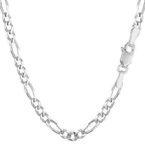 14k-White-Gold-Classic-Figaro-Chain-Bracelet-39mm