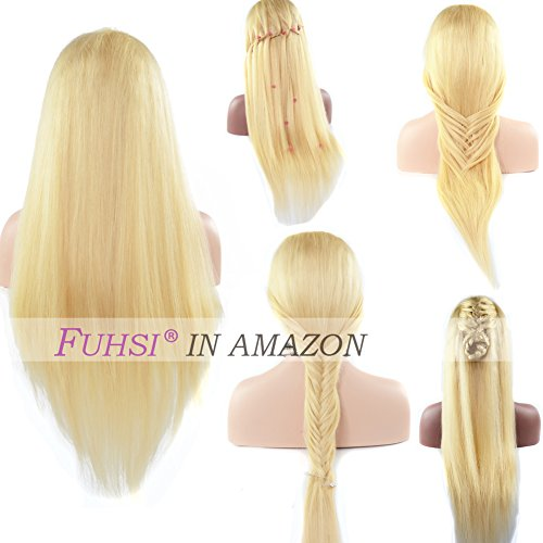 FUHSI Real Natural Human Hair Wig For Women – Soft & Smooth, Tangle-Free Straight Lace Front Wig, Transparent Swiss Lace & Elastic Straps, Comfortable & Adjustable For Perfect Fit –613 Blonde 130D 18