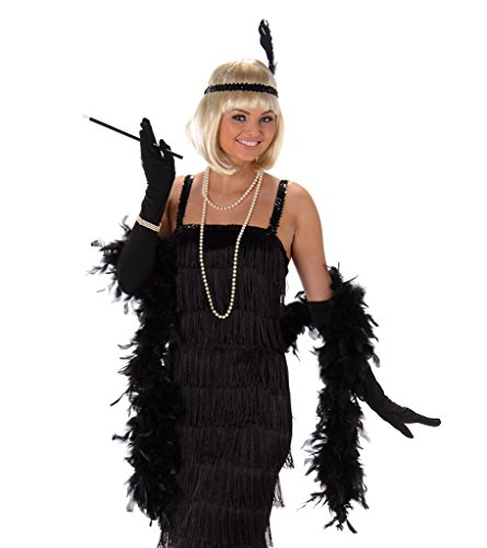 Women's Black Flapper Dress Costume Halloween (L)