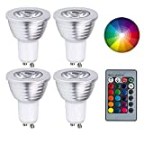 GU10 LED Lights Bulbs, URPIRE 4W Spotlight Bulb 16 Colors Changing Lights with 24 Keys Remote Control for Home Decoration, Bar, Landscape, Bedroom, Living Room, Track Lighting (4 Pack)