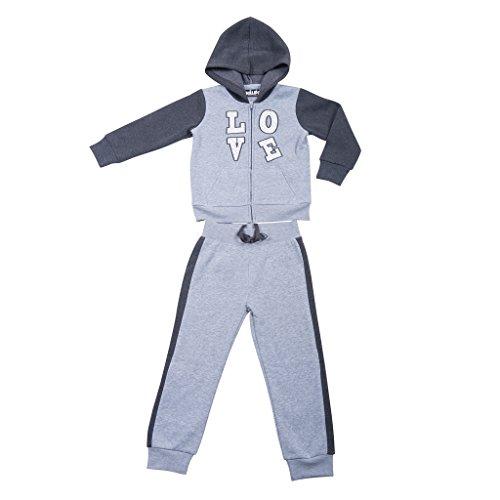 [39522-MediumHeather-10/12] Girl's Hoodie Tracksuit Set Zip Jacket Pullon Pants