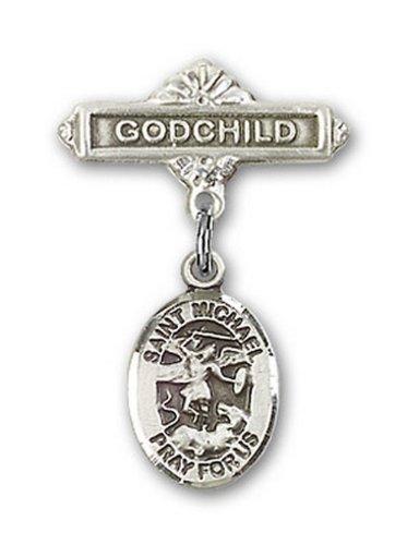 Icecarats Créatrice De Bijoux En Argent Sterling St. Michael La Broche Badge Filleul De Charme Archange 1 X 5/8