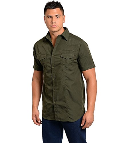 mens-casual-olive-camouflage-short-sleeve-button-down-cotton-blend-shirt-large