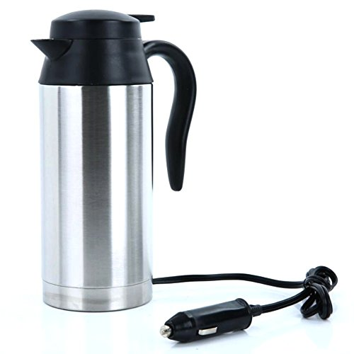 QIN.J.FANG Car Electric Kettle Bottle 750Ml Stainless Steel Heating Cup Handy Cup Thermostat Bottle Coffee Heated Mug Water Heater,12V]()