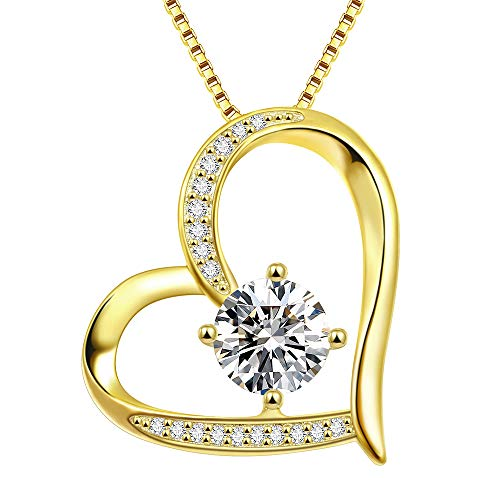 Heart Necklace 5A Cubic Zirconia Love Necklace 14k Yellow Gold Plated Pendant Necklaces for Women ()