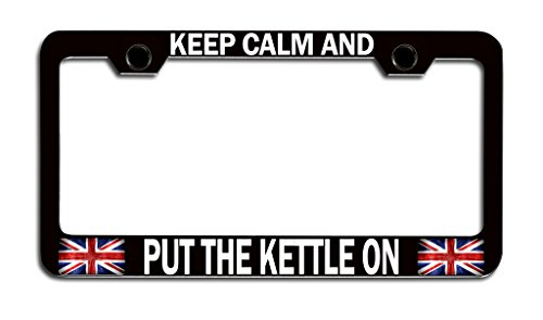 Makoroni - KEEP CALM AND PUT THE KETTLE ON British England Bl Steel License Plate Frame, License Tag Holder